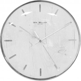 Wall Clock Chrome Plated Batons and Case 25cm