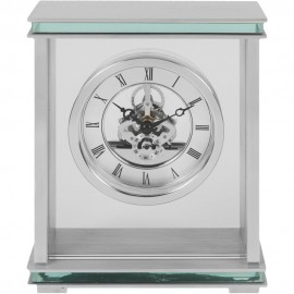 Silver Mantel Clock Skeleton Dial 15cm