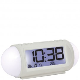 White Colour Changing Alarm Clock 18cm