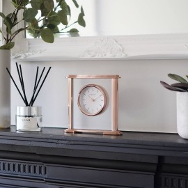 Oval Rose Gold Mantel Clock 17.5cm
