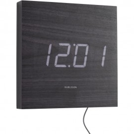 Square Wood Veneer Black, White Led Wall Clock 20cm