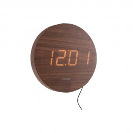 Round Wood Veneer Dark Wood, White Led Wall Clock 20cm