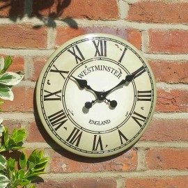 Westminster Tower Cream Outdoor Wall Clock 30cm