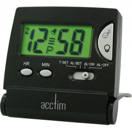 Mini LCD Flip Black Alarm Clock 6cm