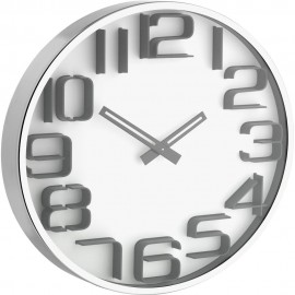 3D White Wall Clock 30cm