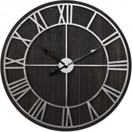 Metal & Wood Effect Wall Clock Roman Numerals 70cm