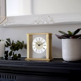 Gold Flat Top Mantel Clock 15.5cm