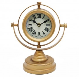 Gold Compass Style Mantel Clock 25cm