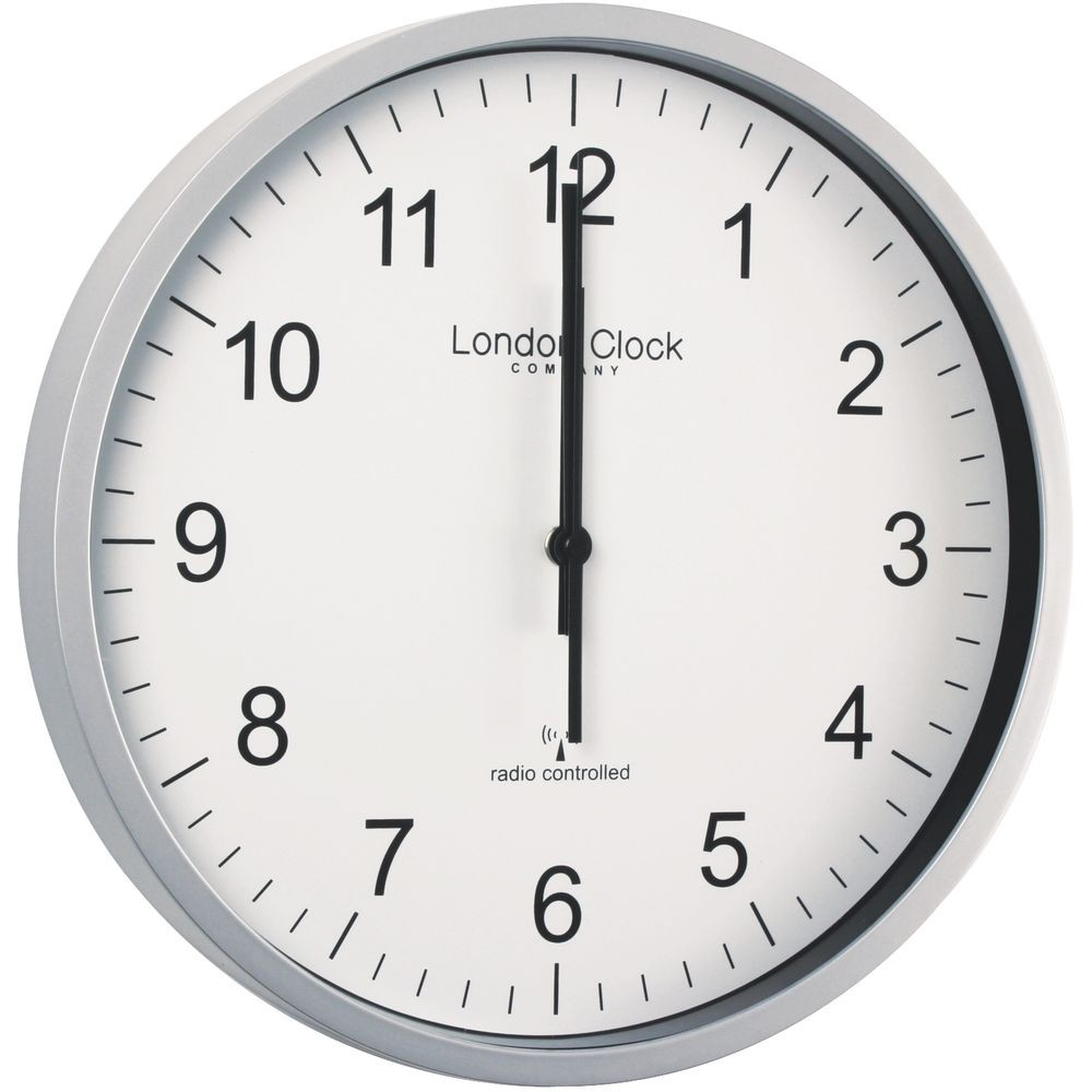 london clock wall clocks - radio controlled silver office wall clock cm