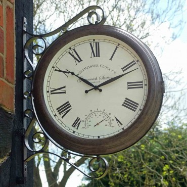 Greenwich Station Outdoor Wall Clock with Thermometer 38cm