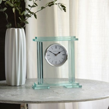 Clear Glass Mantle Clock 19cm