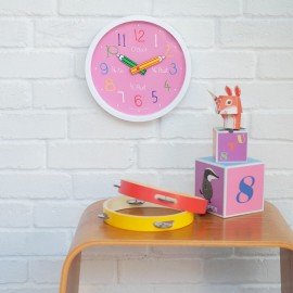 Pink Colouring Box Wall Clock 25.5cm