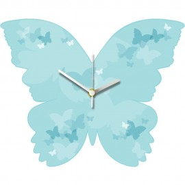 Aqua Butterfly Wall Clock 29.5cm