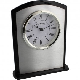 Black & White Arched Mantel Clock Silver Bezel 14cm
