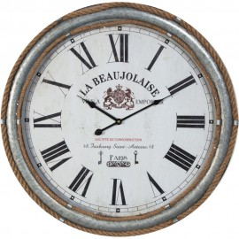 Galvanised Metal & Rope Wall Clock Roman Dial 60cm