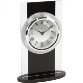Black & Clear Glass Mantel Clock 13cm