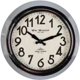 Round Metal Case Wall Clock Chrome Finish 25.5cm