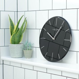 Black Glass Wall Clock 35cm