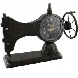 Metal Mantel Clock - Sewing Machine 33.5cm
