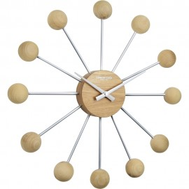 The Sputnik Wall Clock Wood 44cm