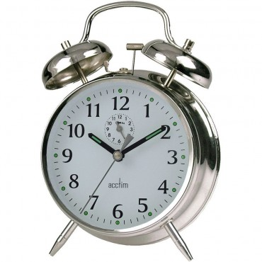 Saxon Wind-Up Twin Bell Alarm Clock 16cm