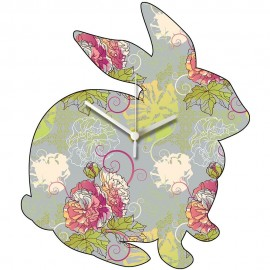 Flower Pattern Rabbit Wall Clock 31cm