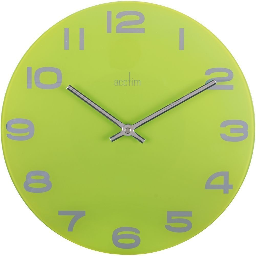 Mika lime green glass wall clock 30cm for Green wall clocks uk