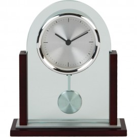 Arched Glass & Wood Mantel Clock 16cm