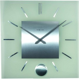 Stripe Square Wall Clock With Pendulum 40cm