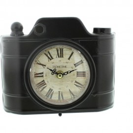 Metal Mantel Clock - Brown Polaroid Camera Roman 20cm