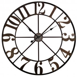 Round Metal Wall Clock Cut Out Design 80cm