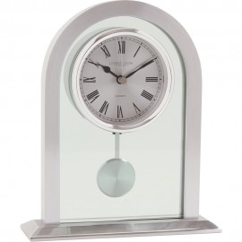 Silver Finish Pendulum Mantel Clock 19.5cm