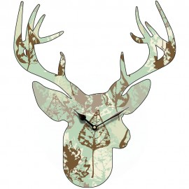 Stag Head Leaf Pattern Wall Clock 45.5cm or 70cm