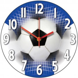 Blue And White Football Wall Clock 28.5cm