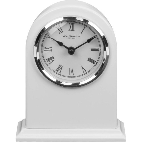 High Gloss White Arched Mantel Clock 13cm