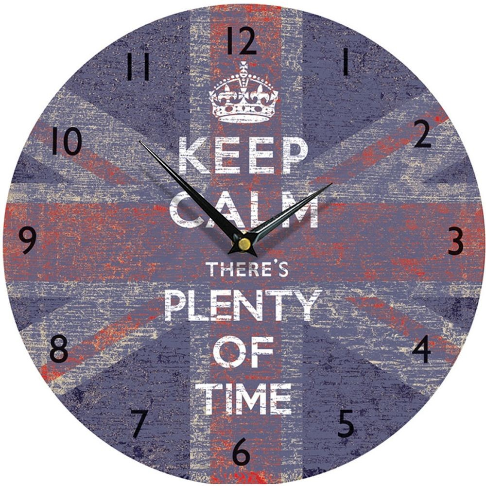 Calm union jack wall clock 285cm keep calm union jack wall clock 285cm amipublicfo Images