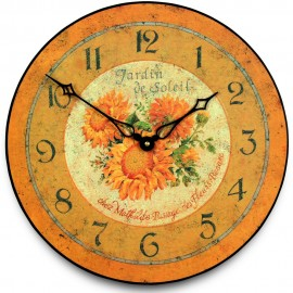 French Sunflower Wall Clock 36cm