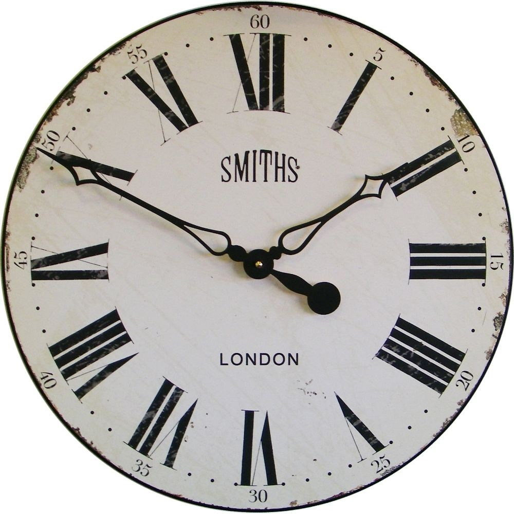 smiths antique white wall clock 50cm - Wall Clocks
