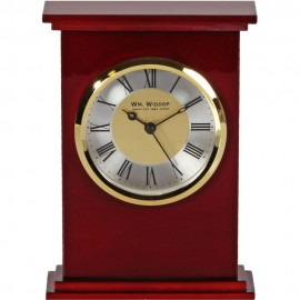 Rectangle Wooden Mantel Clock Roman Gold Bezel 12.5cm