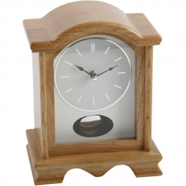 Broken Arch Pendulum Mantel Clock Oak Effect 16.5cm