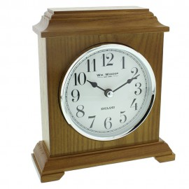 Napoleon Oak Finish Wooden Mantel Clock Carriage Style 16cm