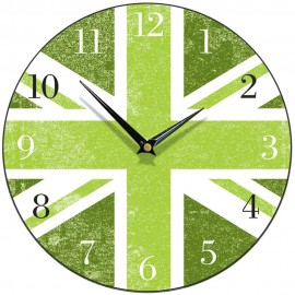 Green Union Jack Wall Clock 28.5cm