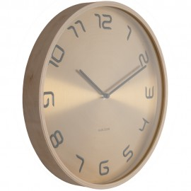 Gold Embossed Wood Wall Clock 35cm
