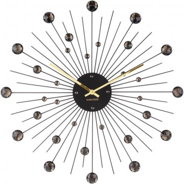 Sunburst Black Wall Clock 50cm
