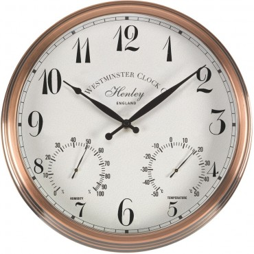 Henley Outdoor Wall Clock with Thermometer 30cm