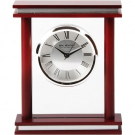 Square Wood & Glass Mantel Clock 15.5cm