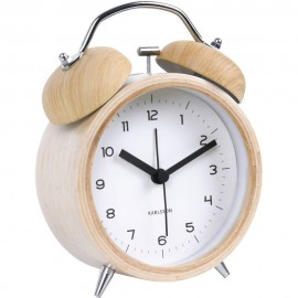 Classic Bell Wood Finish Alarm Clock 10cm