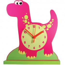 Small Pink Dinosaur Shelf Clock 24cm
