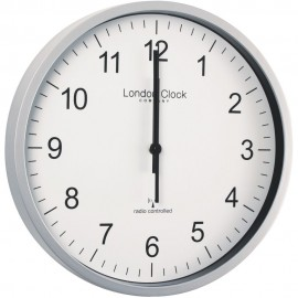 Radio Controlled Silver Office Wall Clock 30.5cm