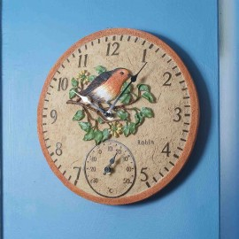 Robin Outdoor Wall Clock with Thermometer 30cm